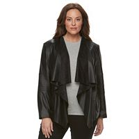 Plus Size Levi's Faux-Leather Open-Front Jacket