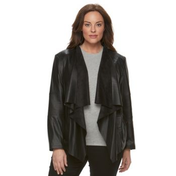 Plus Size Levi's Faux-Leather Open-Front Jacket