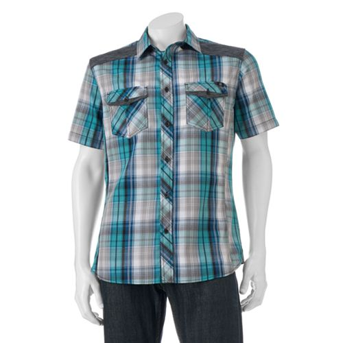 Big tall rock republic classic fit plaid button down for Tall button down shirts