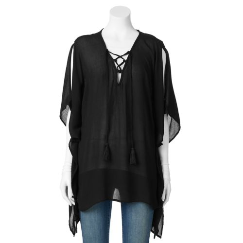 SONOMA Goods for Life™ Tassel Lace-Up Poncho