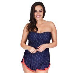 Plus Size Mazu Swim Tummy Slimmer Polka-Dot Skater Swimdress