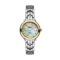 Seiko Women's Tressia Diamond Two Tone Stainless Steel Solar Watch -  SUP354