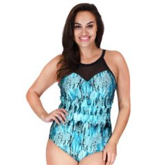Plus Size Mazu Swim Cascade Tummy Slimmer High-Neck One-Piece Swimsuit