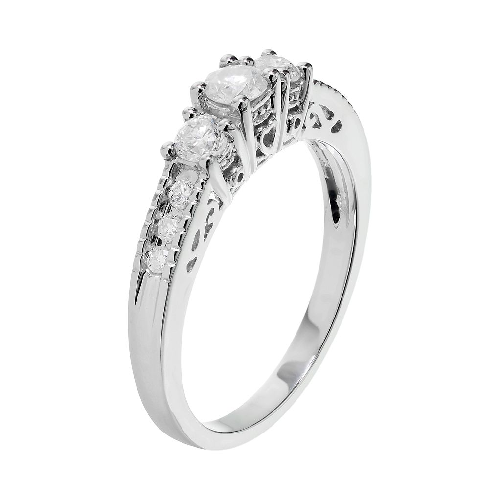 14k White Gold 1/2 Carat T.W. Diamond 3-Stone Engagement Ring