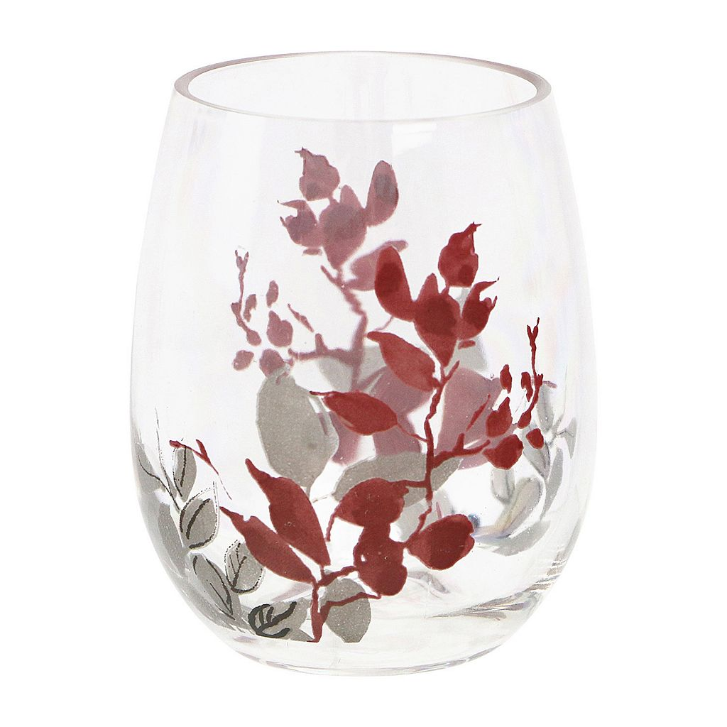 Corelle Kyoto Leaves 4-pc. Acrylic Stemless Wine Glass Set