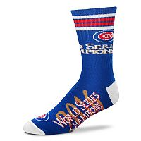 Men's For Bare Feet Chicago Cubs 2016 World Series Champions Deuce Striped Crew Socks