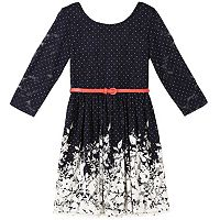 Girls 7-16 Speechless Belted Floral 3/4-Length Sleeve Skater Dress