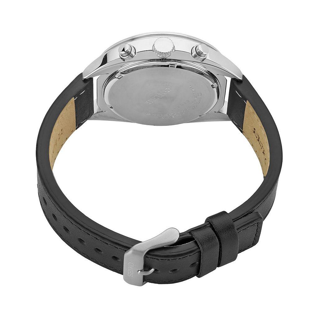 Seiko Men's Recraft Leather Solar Chronograph Watch - SSC569