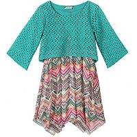 Girls 7-16 Speechless Perforated Overlay & Printed Handkerchief Hem Dress with Necklace