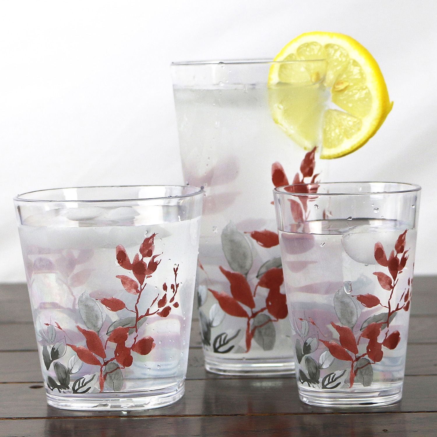 Corelle Kyoto Leaves 6 Pc. Acrylic Square Glass Set