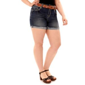 Juniors' Plus Size Wallflower Cutoff Jean Shortie Shorts