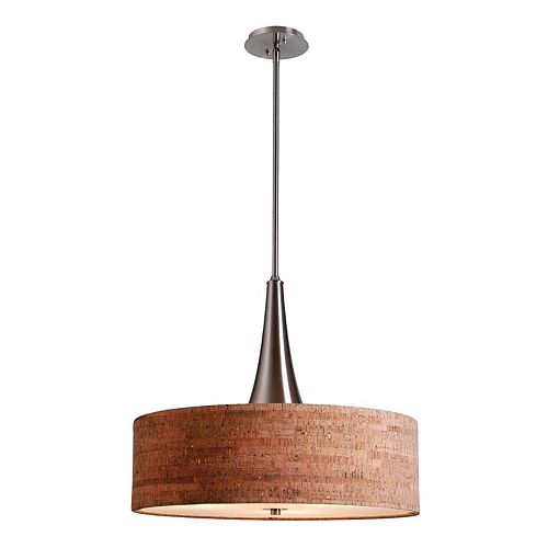 Kenroy Home 3-Light Cork Pendant Ceiling Lamp