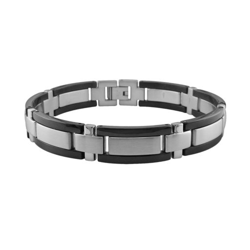 LYNX Stainless Steel and Black Accent Bracelet - Men