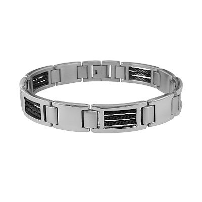 Stainless Steel and Black Cable- Accent Bracelet - Men