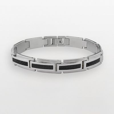 Stainless Steel and Black Carbine Bracelet - Men