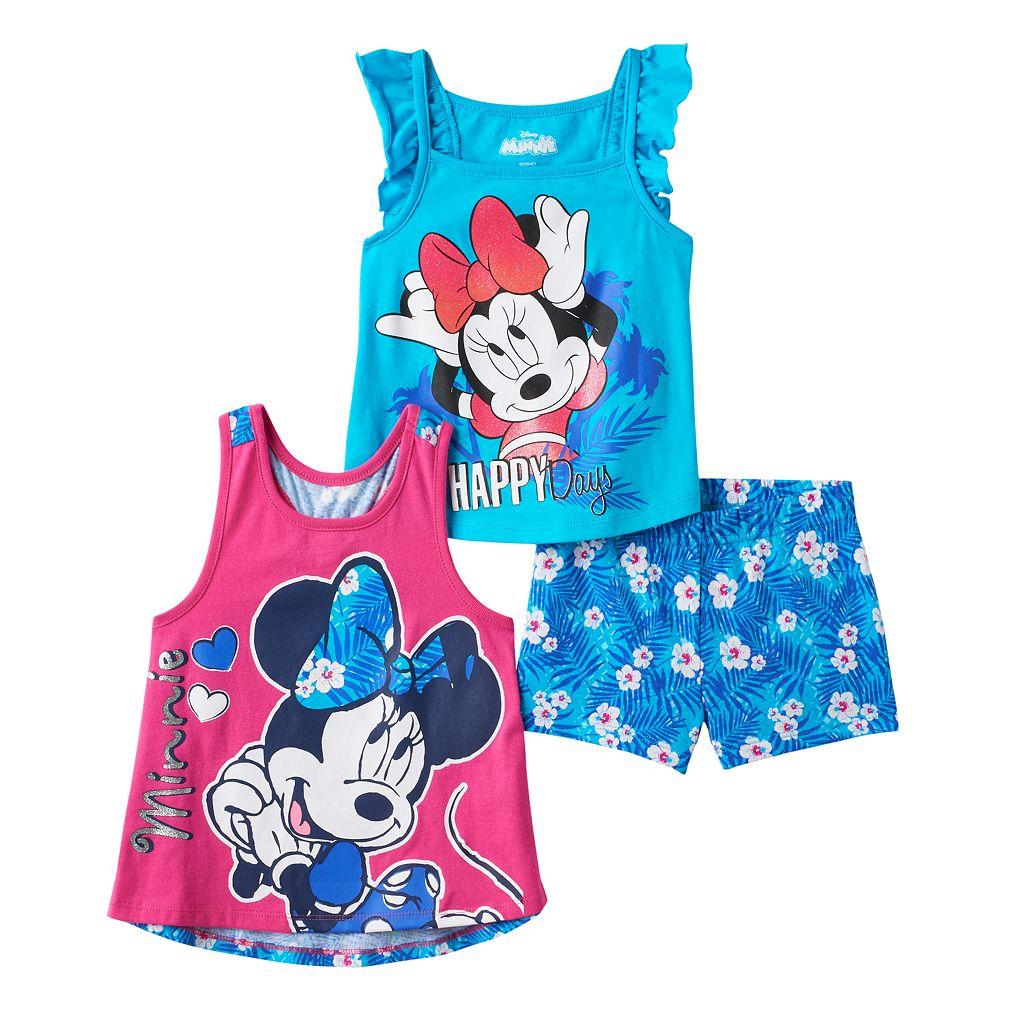 Disney's Minnie Mouse Girls 4-6x Racerback Tank Top, Flutter Sleeve Tank Top & Shorts Set