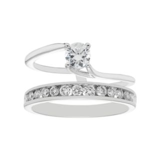 14k White Gold 3/4 Carat T.W. IGL Certified Diamond Interlock Engagement Ring Set