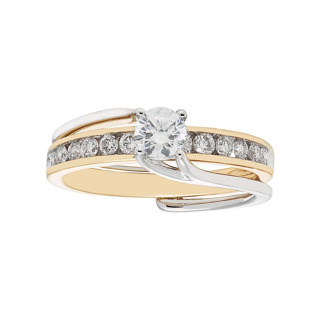 Two Tone 14k Gold 3/4 Carat T.W. IGL Certified Diamond Interlock Engagement Ring Set