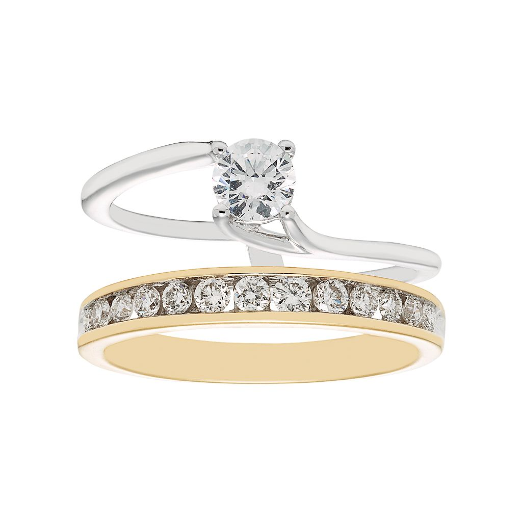Two Tone 14k Gold 3/4 Carat T.W. IGL Certified Diamond Interlock Engagement Ring Set
