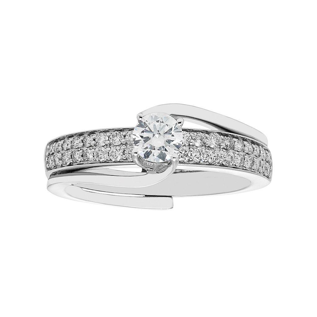 14k White Gold 3/4 Carat T.W. IGL Certified Diamond Interlock Engagement Ring Set