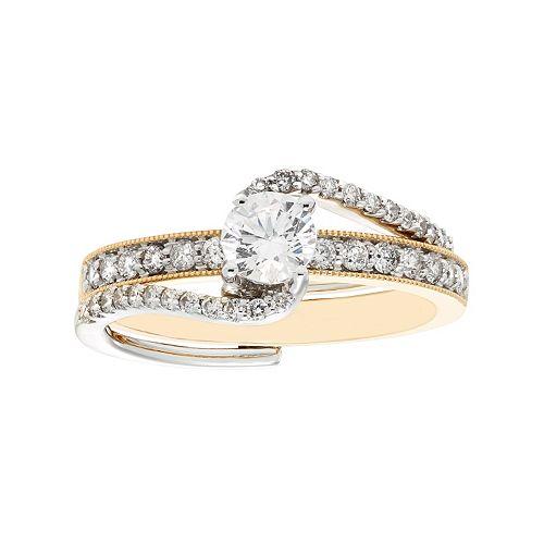 Two Tone 14k Gold 1 Carat T.W. IGL Certified Diamond Interlock Engagement Ring Set