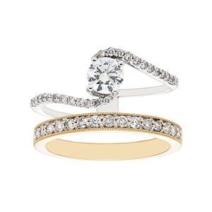Two Tone 14k Gold 1 Carat T.W. IGL Certified Diamond Interlock Engagement Ring Set