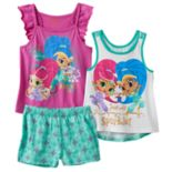 Toddler Girl Shimmer & Shine Glitter Graphic Tank Top, Flutter Sleeve Tank Top & Patterned Shorts Set