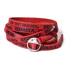 Adult Georgia Bulldogs Leather Wrap Bracelet