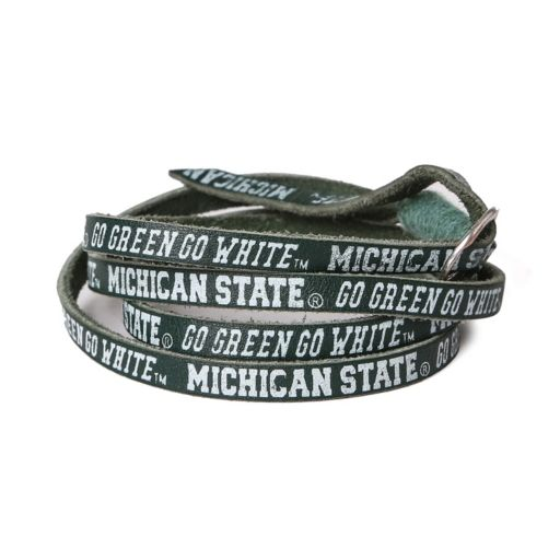 Adult Michigan State Spartans Leather Wrap Bracelet