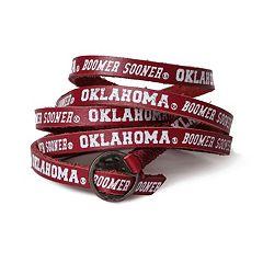 Adult Oklahoma Sooners Leather Wrap Bracelet