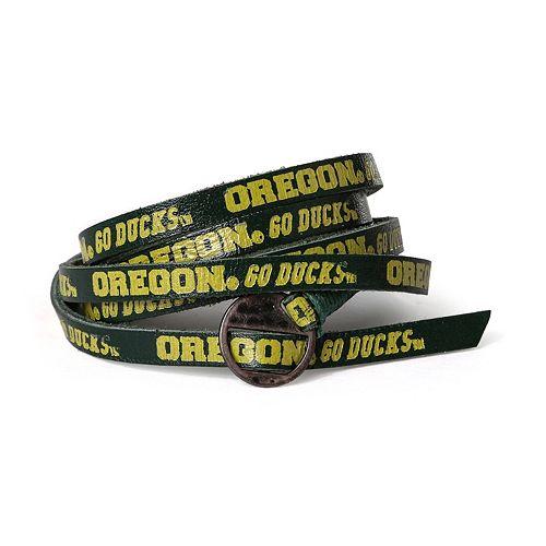Adult Oregon Ducks Leather Wrap Bracelet