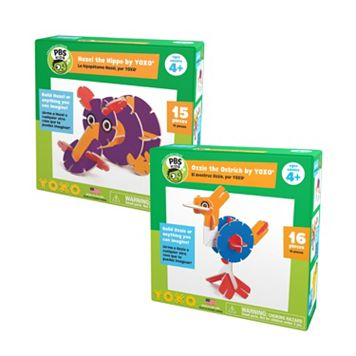 YOXO / PBS KIDS Hazel the Hippo + Ozzie the Ostrich Building Toy Set
