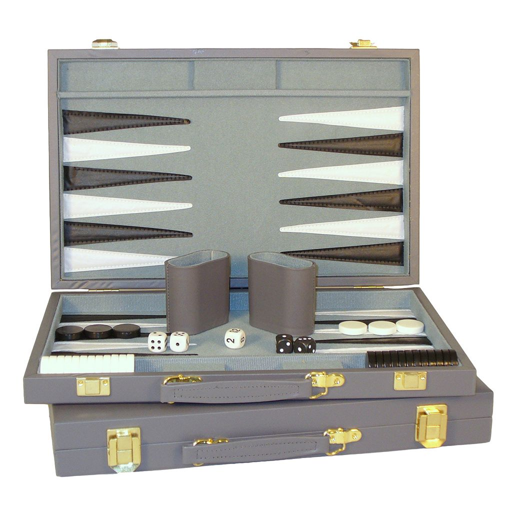 WorldWise Imports 15-in. Grey Vinyl Backgammon Set