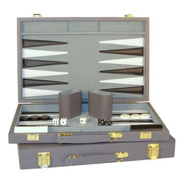 WorldWise Imports 18-in. Grey Vinyl Backgammon Set