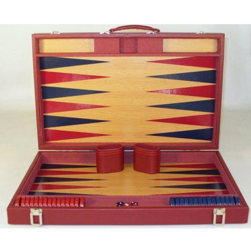 WorldWise Imports 20-in. Burgundy & Blue Wood Tournament Backgammon Set
