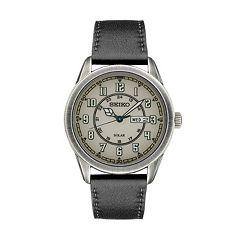 Seiko Men's Recraft Leather Solar Watch