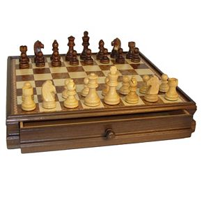 WorldWise Imports Walnut & Maple Drawer Chest Chess Set