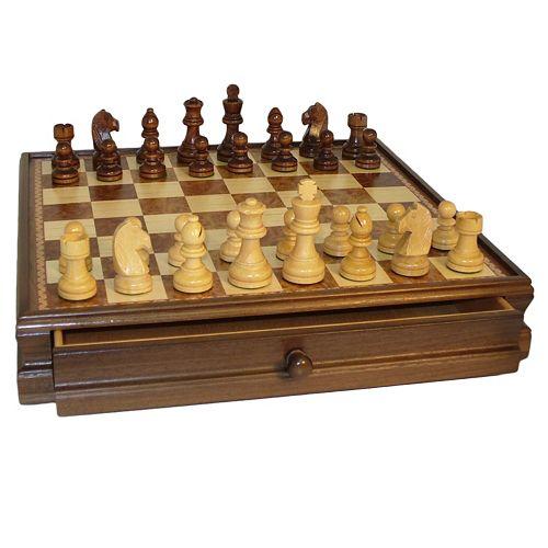 WorldWise Imports Walnut & Maple Drawer Chest Chess Set