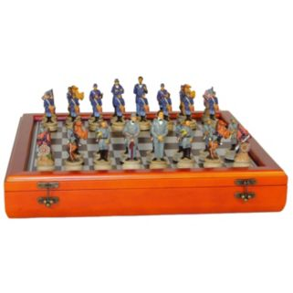 WorldWise Imports Civil War Generals Chess Set & Cherry-Stained Chest Board Set