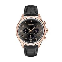 Seiko Men's Classic Leather Solar Chronograph Watch - SSC566