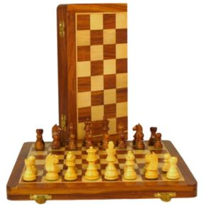 WorldWise Imports Sheesham & Maple Folding Chess Set