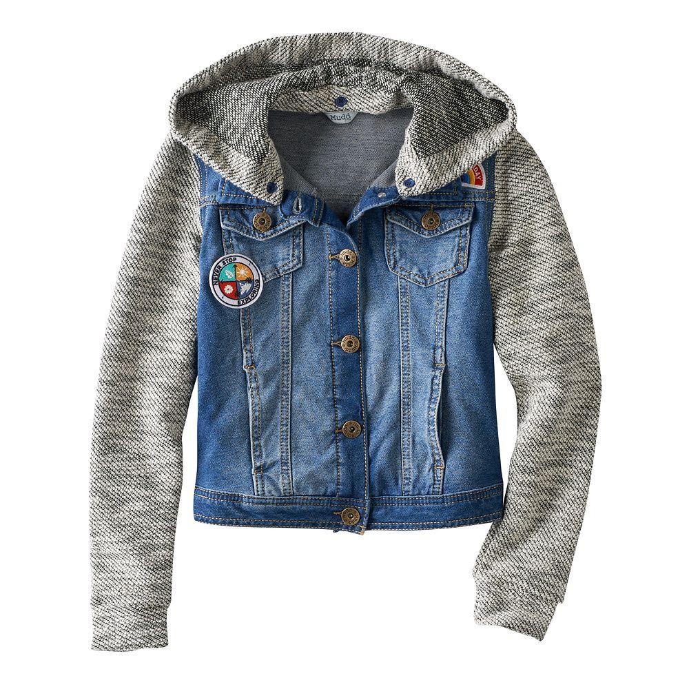 Girls 7-16 Mudd® Knit Hooded Denim Jacket - 7-16 Mudd® Knit Hooded Denim Jacket