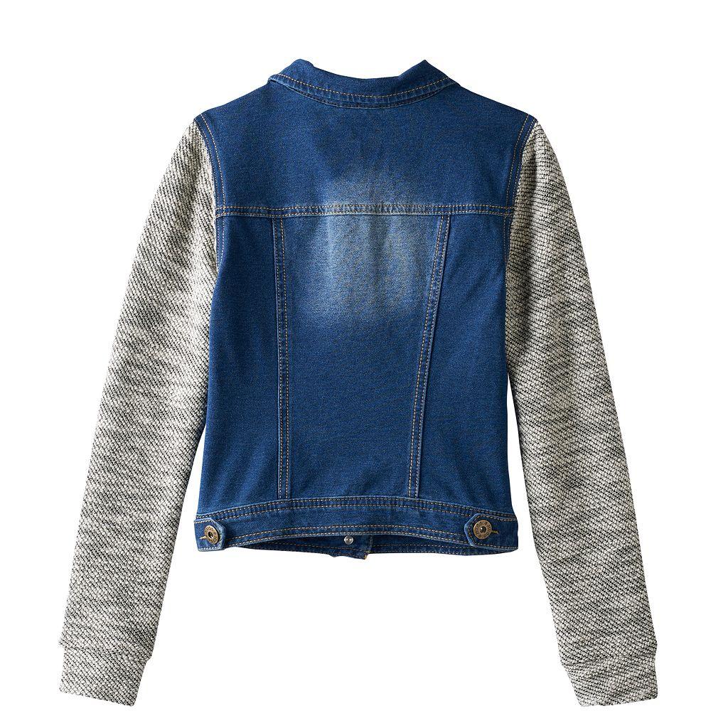 Girls 7-16 Mudd® Knit Hooded Denim Jacket