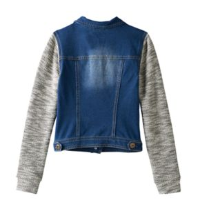 Girls 7-16 Mudd® Knit Hooded Denim Jacket