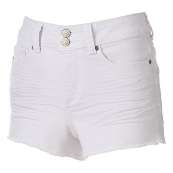 Juniors' Mudd® High Waist White Jean Shortie Shorts