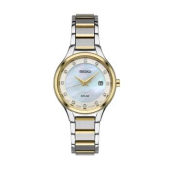 Seiko Women's Diamond Two Tone Stainless Steel Solar Watch - SUT318