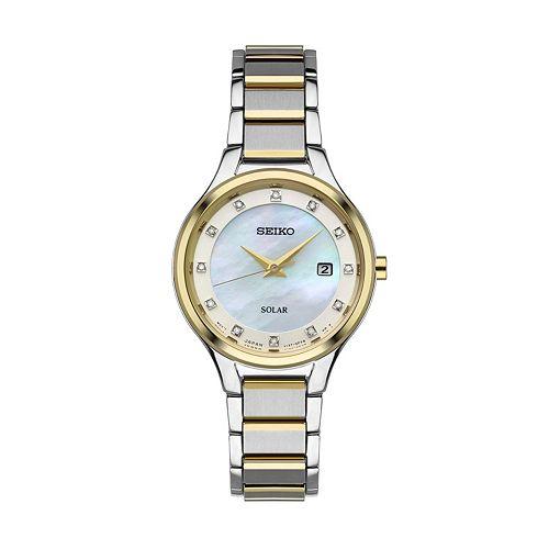 Seiko Women's Diamond Two Tone Stainless Steel Solar Watch - SUT318