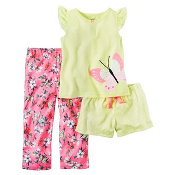 Baby Girl Carter's Butterfly Tee, Solid Shorts & Printed Pants Pajama Set