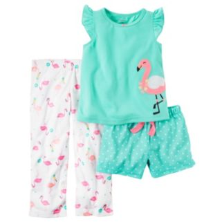 Baby Girl Carter's Flamingo Tee, Polka-Dot Shorts & Printed Pants Pajama Set