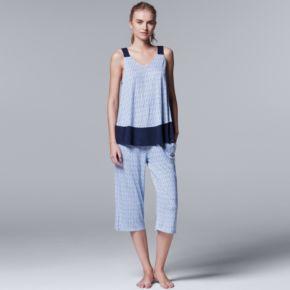 Women's Simply Vera Vera Wang Pajamas: Lakeside Lounging Tank & Capris PJ Set